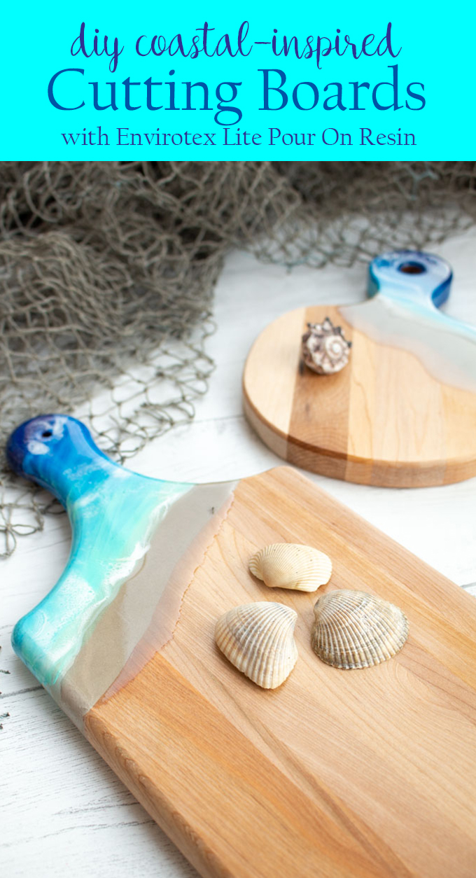 Coastal Inspired Wooden Cutting Boards With Resin Resin Crafts