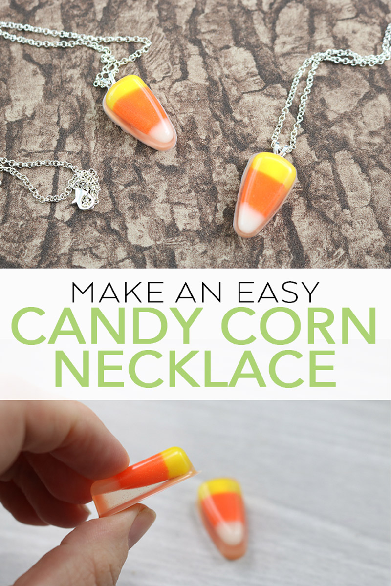 Make a DIY candy corn necklace with resin! A cute accessory to wear for fall and Halloween this year plus it is easy to make! #fall #candycorn #resin #jewelry