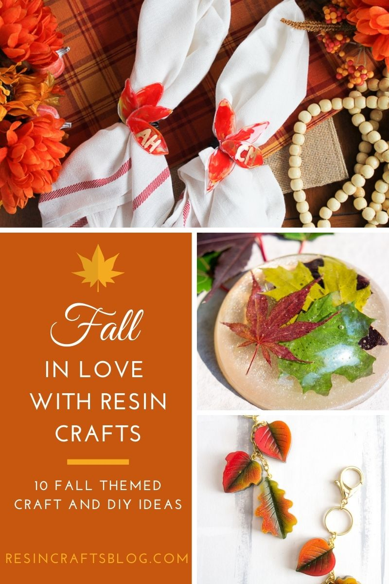 resin fall crafts pin collage with text overlay