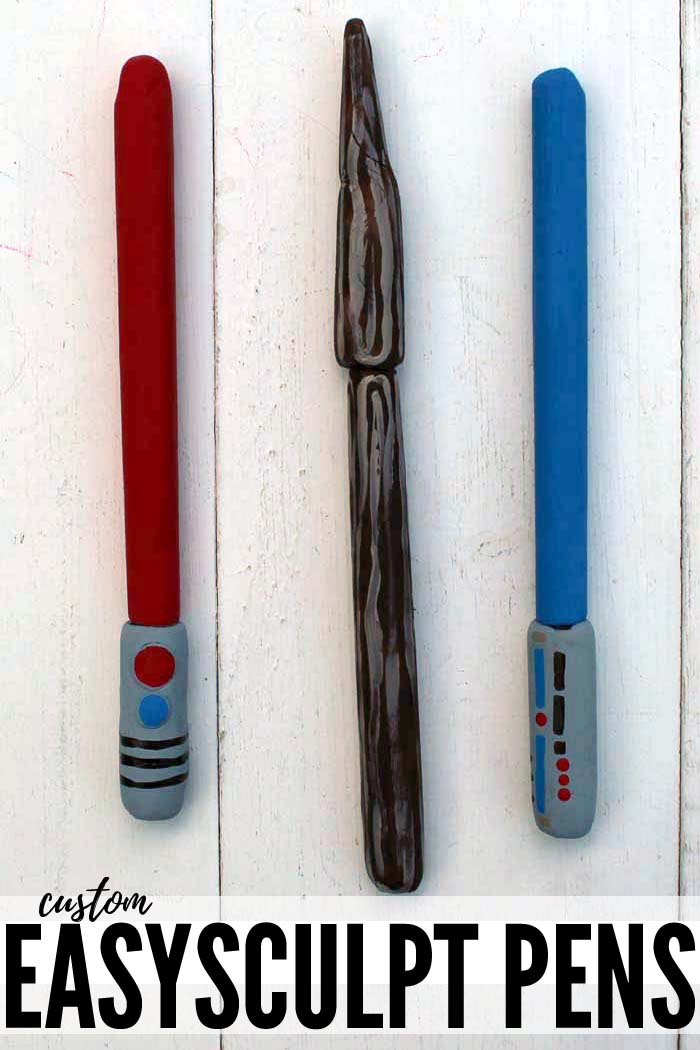 Custom pens made with easy sculpt resin clay to look like star wars lightsabers and magic wands from harry potter