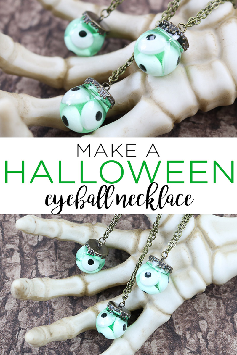 Learn how to make a Halloween eyeball necklace with candy eyes and resin! This will look great when worn on Halloween! #halloween #necklace #resin #eyeballs