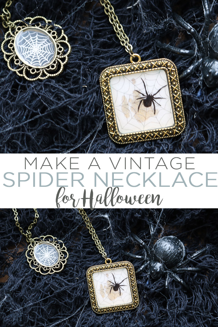 Make a vintage-looking Halloween spider necklace in minutes with a few supplies and these instructions! A gorgeous addition to your fall wardrobe! #halloween #spider #necklace #jewelry #resin