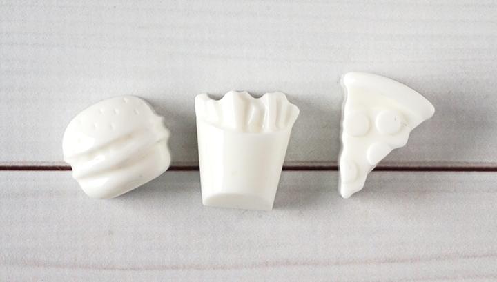 Unpainted resin food pieces