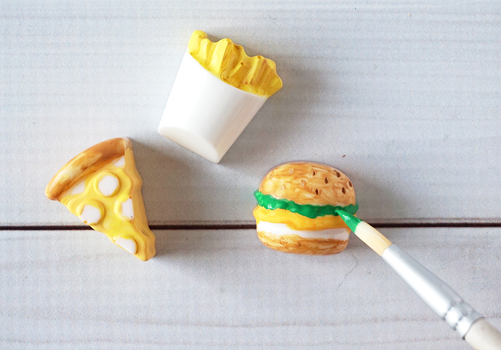 Paintbrush painting blank resin junk food pieces