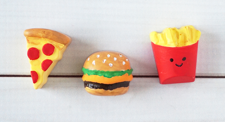 Painted resin junk food pieces