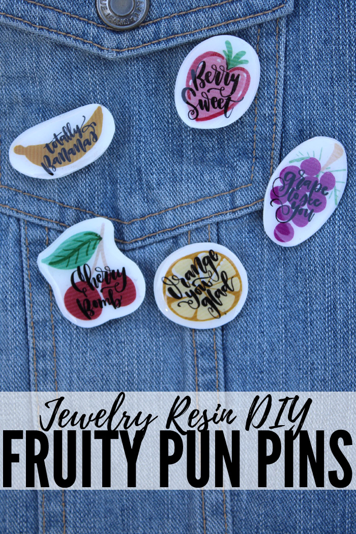Enamel pins are all the rage and making some witty fruit pun pins is a piece of cake! Using shrink plastic, jewelry resin and pin backs is all it takes! #resincraft #resincrafts #resincraftsblog #resin