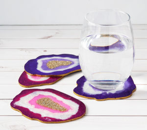 DIY Faux Agate Coasters with Glass