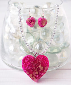 alcohol ink resin heart jewelry set