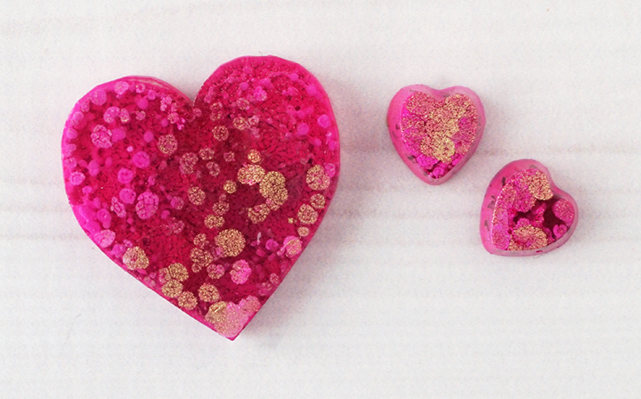 alcohol ink resin heart pieces