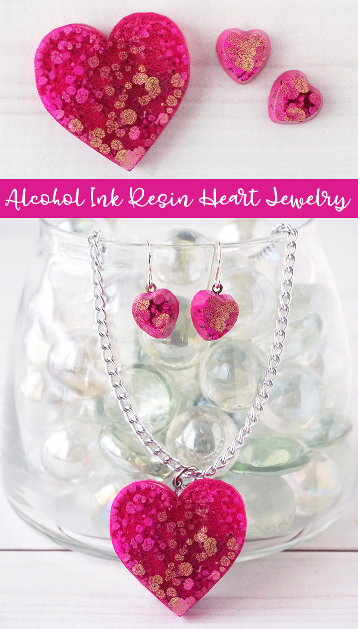 DIY Alcohol Ink Resin Heart Jewelry