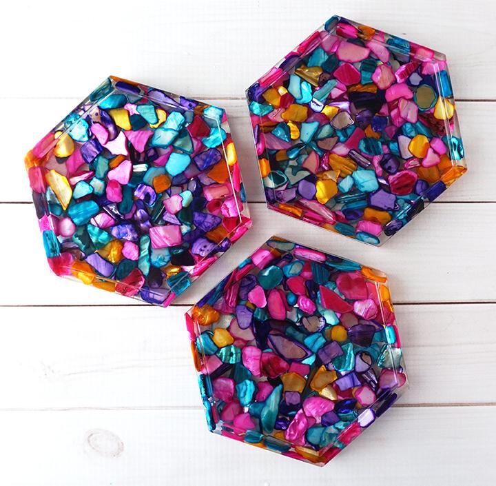 Dyed Seashell Resin Coasters