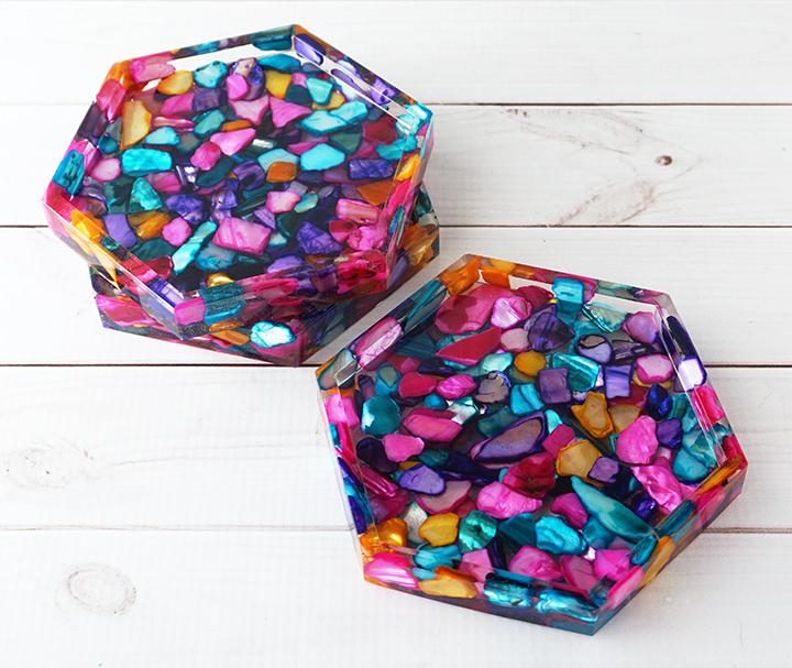 Dyed Seashell Coasters Stacked