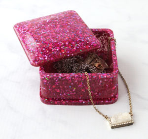 Glittered Resin Trinket Box with Jewelry