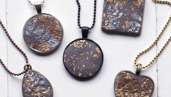 Jewelry Clay Gold Leaf Necklaces DIY