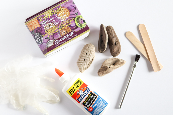 supplies for making a driftwood mold using EasyMold Silicone Putty