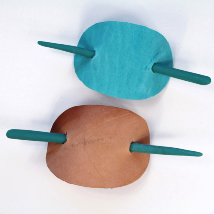 Make a fashionable stick barrette for hair with Easy Sculpt resin and scrap tooling leather.
