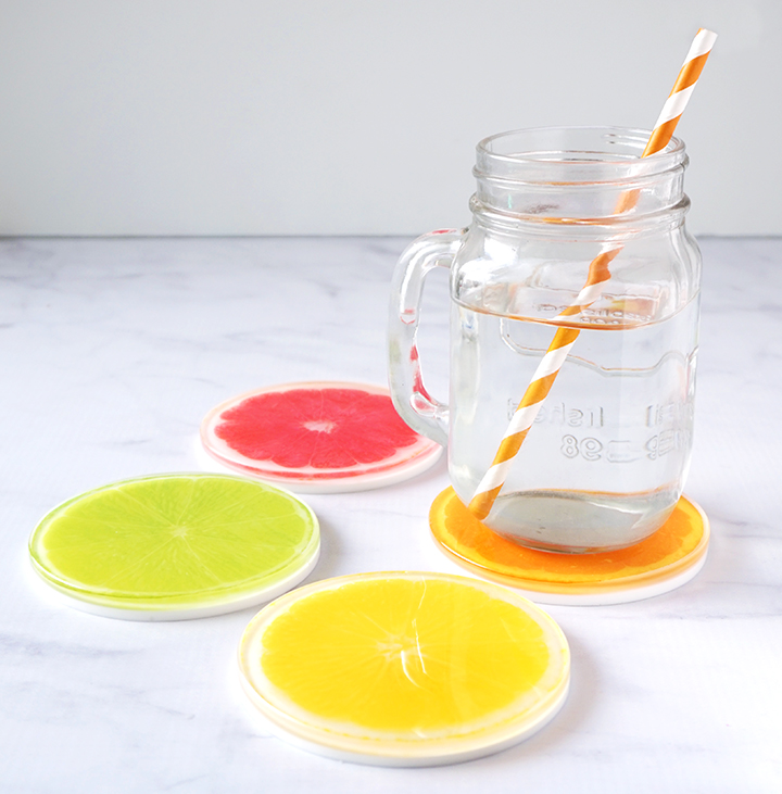 DIY Resin Citrus Coasters Set with Drink