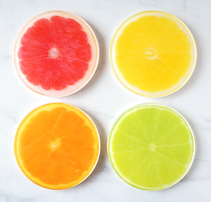 Set of DIY Resin Citrus Coasters