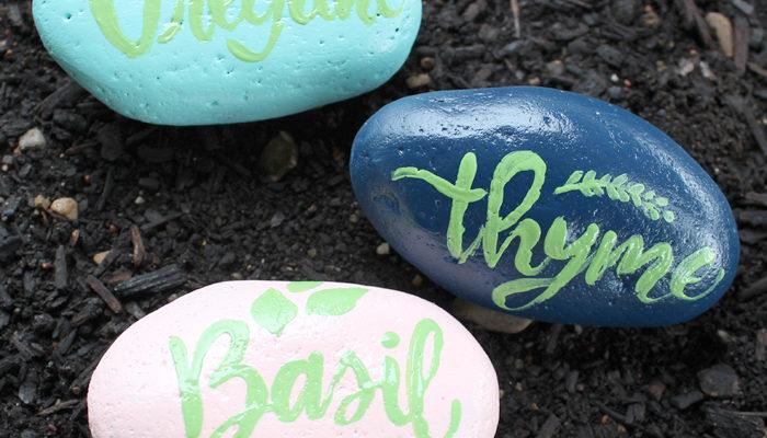 Garden Marker Rocks with Envirotex Spray Gloss Finish