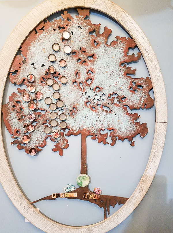 Bottle cap family tree with resin