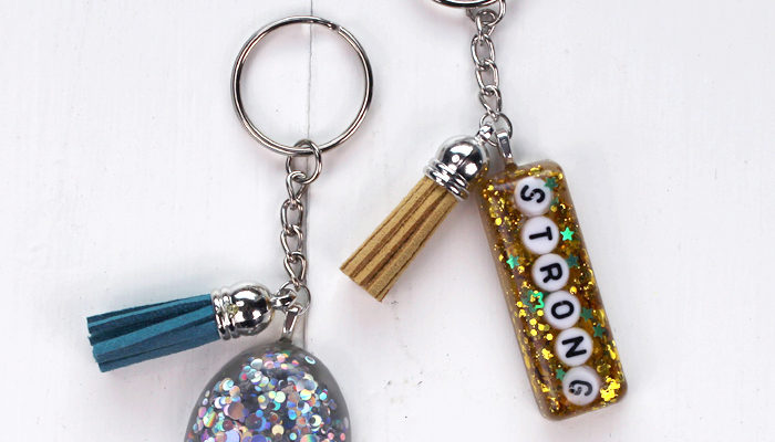 Glitter Resin Keychains with Power Words DIY