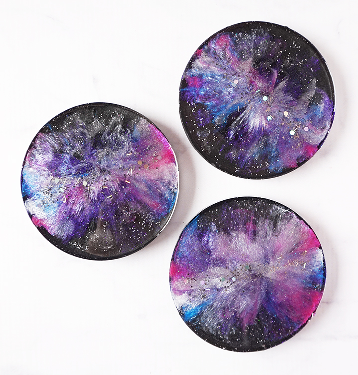 DIY Resin Galaxy Coasters Set