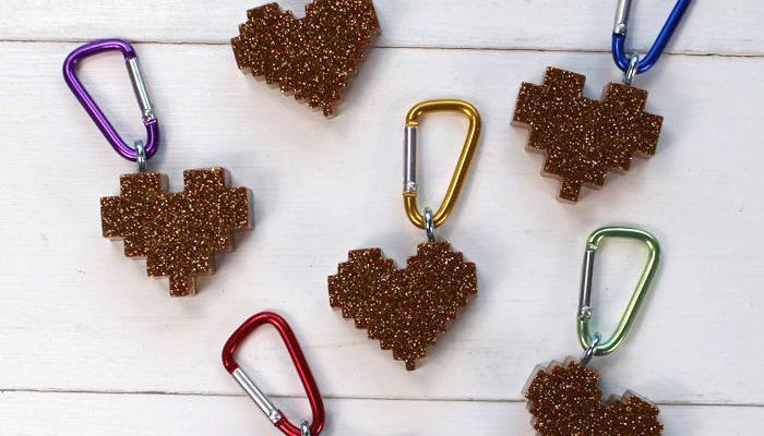 Pixel Heart Glitter Resin Keychains DIY