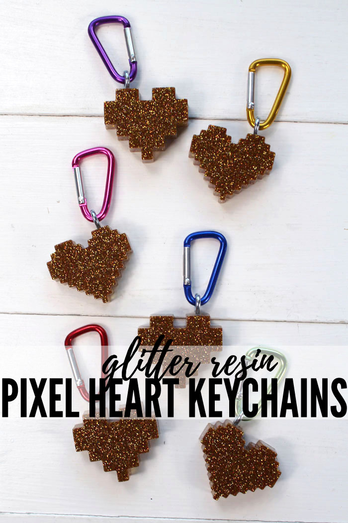 Make pixel heart glitter resin keychains as the perfect Valentine day handout. These heart keychains are perfect for keeping track of keys, hooking on a zipper or adorning a backpack. Add loads of sparkly glitter to EasyCast resin for the perfect shimmering finish!