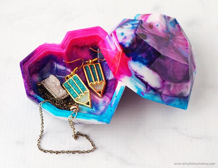 Tie Dye Heart Resin Trinket Box