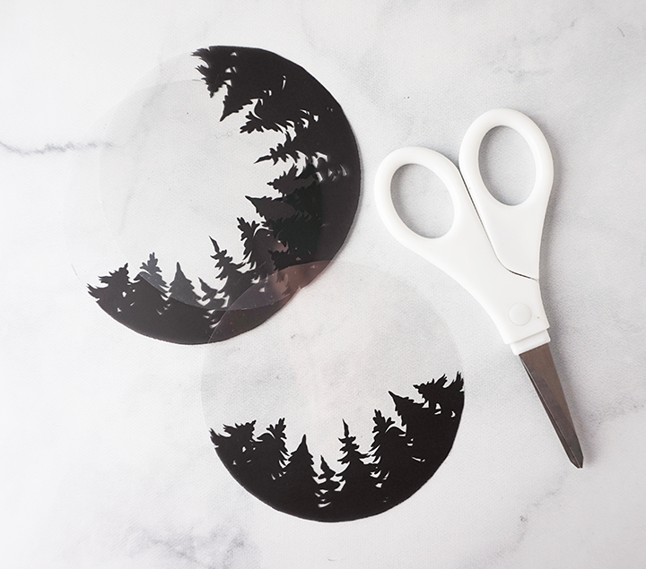 Silhouette d'arbre imprimable avec des ciseaux