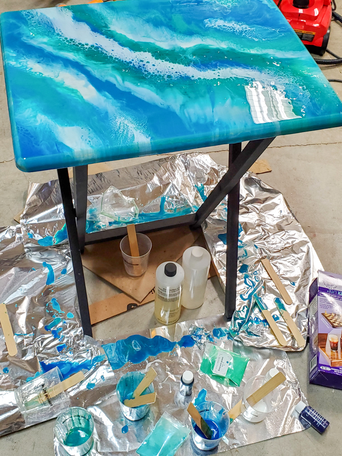 resin drips off table