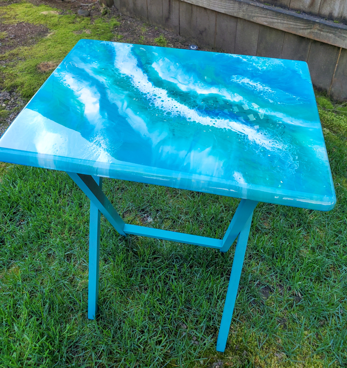 tv table with resin