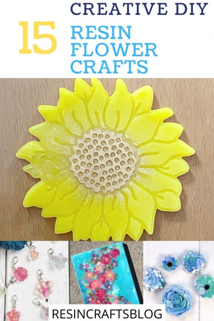 diy resin flower crafts pin collage with text overlay