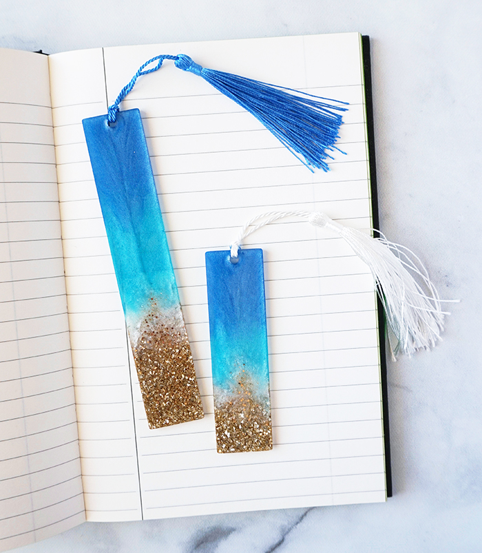 Resin Beach Bookmarks in Book