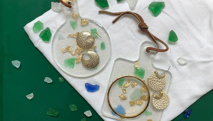 Sea Glass and Gold Leaf Resin Trinket Tray