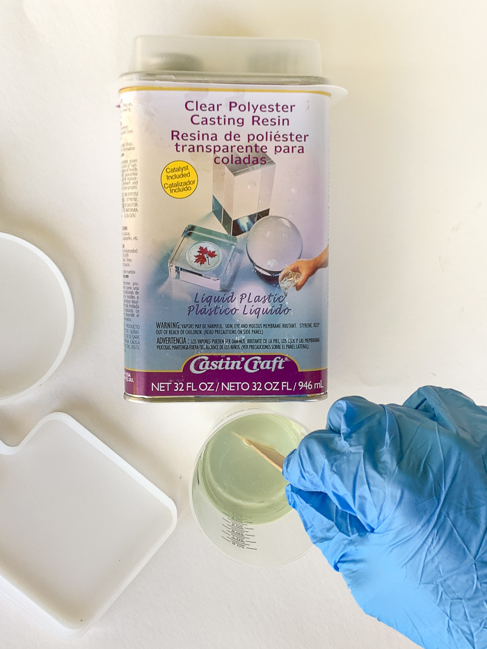 Mix Castin' Craft clear polyester casting resin to form the first layer of the resin trinket dish.