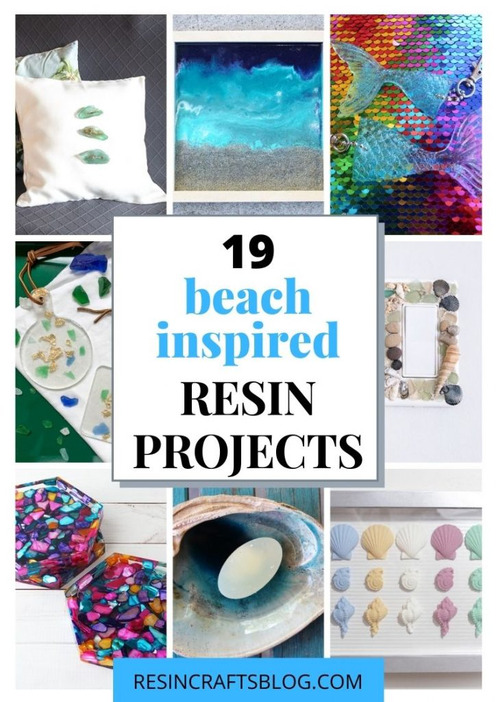 beach inspired resin projects pin collage with text overlay