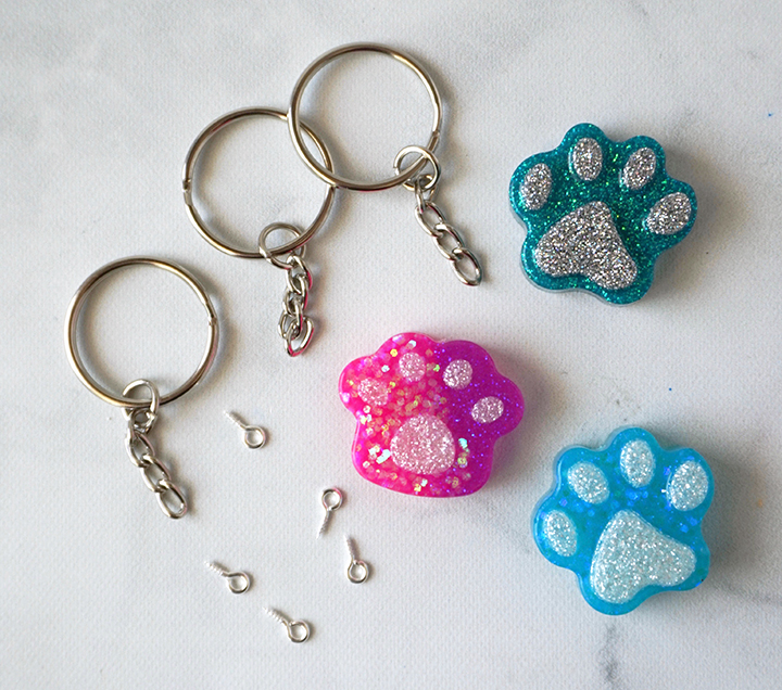 Resin Paw Pieces with Keychain Findings