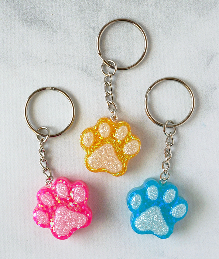 Resin Paw Keychains Made with EasyCast