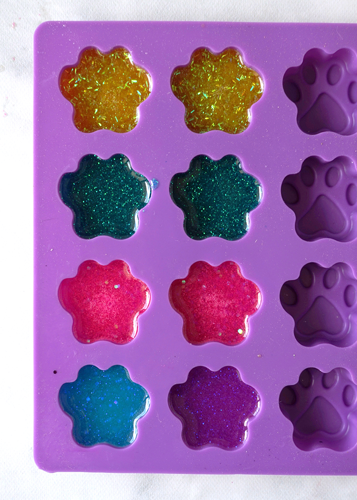 dog paw mold with colorful resin in each cavity