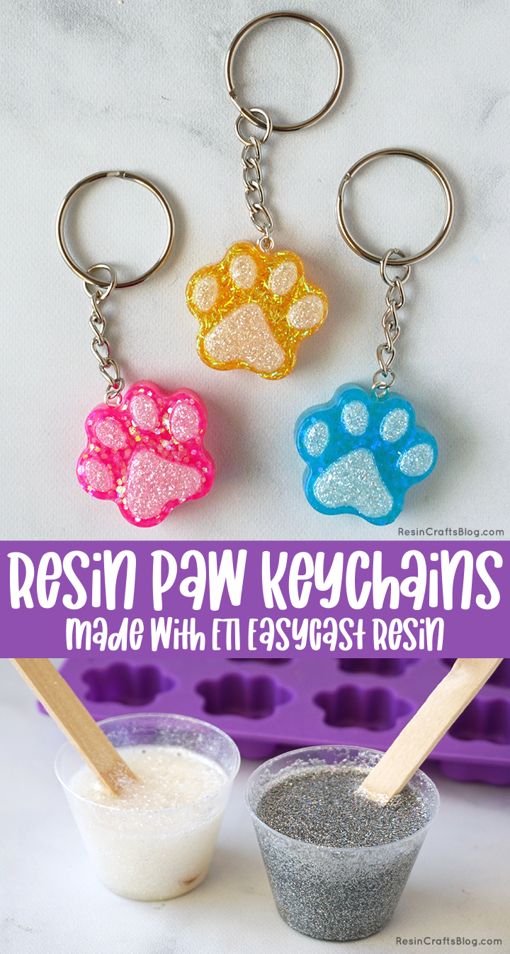Resin Paw Keychains made with ETI EasyCast