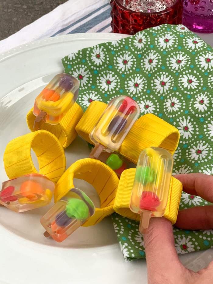 Make the cutest summer popsicle napkin rings with EasyCast resin and Runts candies!