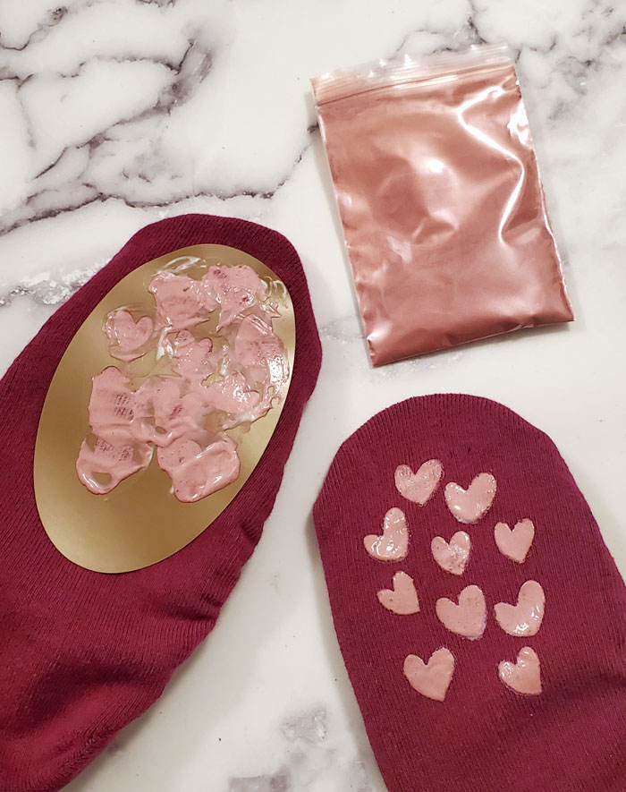 heart stencil on socks