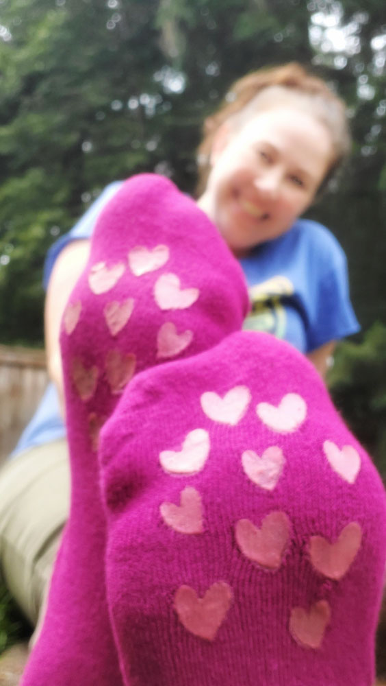 close up of no skid socks
