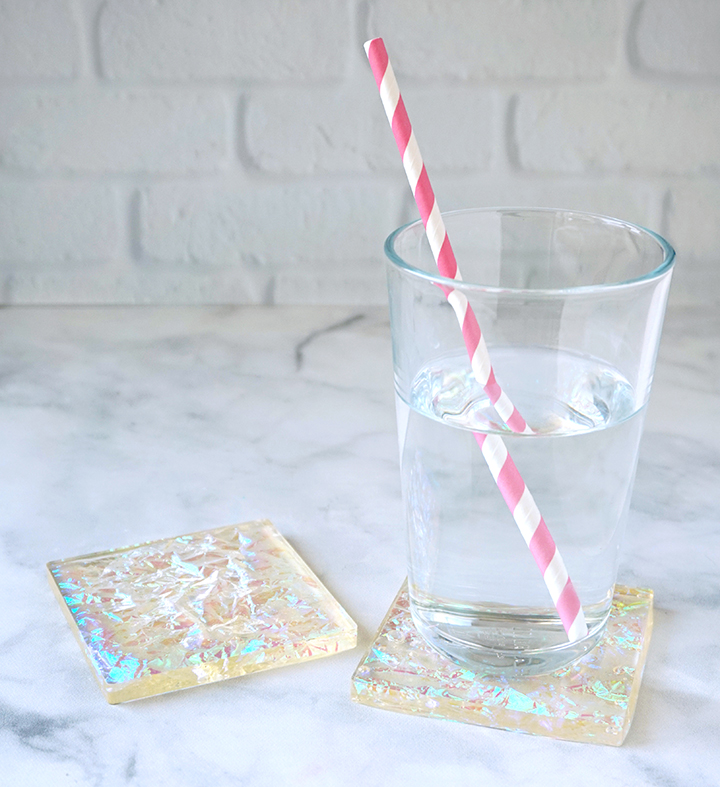 Glass of Water on Resin Iridescent Coasters