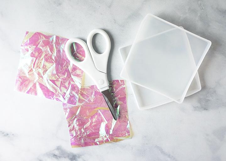 Iridescent cellophane with scissors