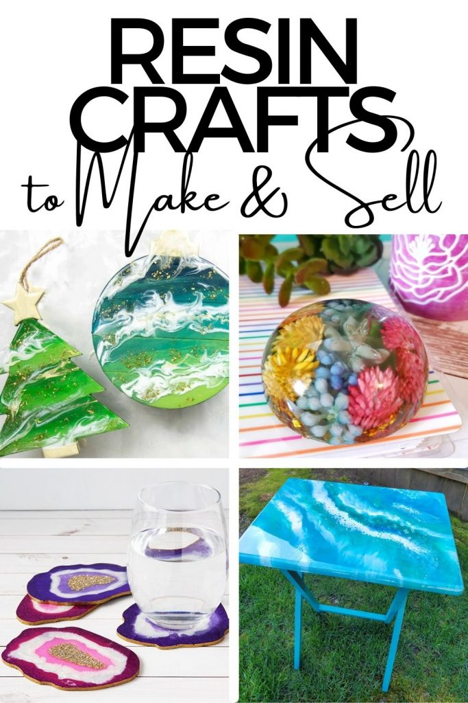 Collage of images as examples of resin crafts you can make and sell.
