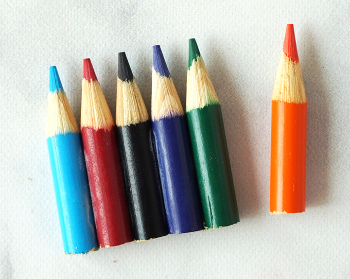 Row of Colored Pencil Tips