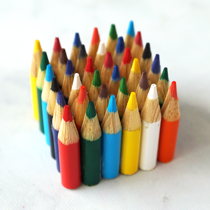 Cube of Colored Pencil Tips