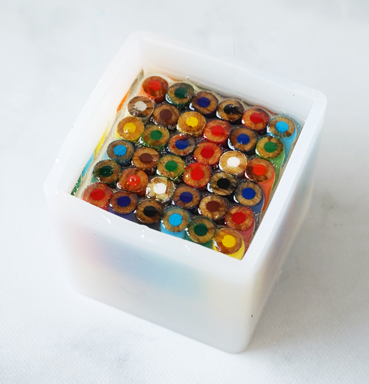 Colored Pencils in Cube Mold with Resin